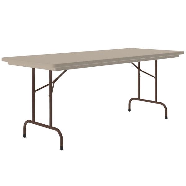 "Correll Heavy-Duty Folding Table, 30"" x 60"" Blow-Molded Plastic, Mocha Granite - R3060-24 Main Image 1"