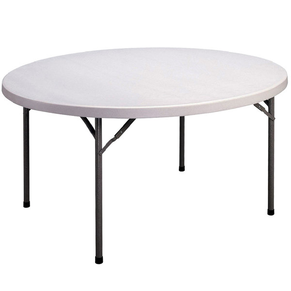 "Correll Round Economy Folding Table, 60"" Blow-Molded Plastic, Gray Granite - CP60 33 Main Image 1"