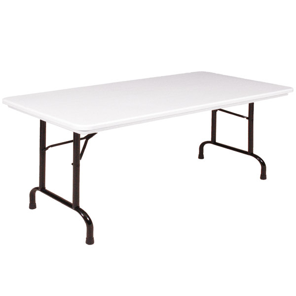 "correll heavy-duty folding table, 30"" x 96"" blow-molded plastic"