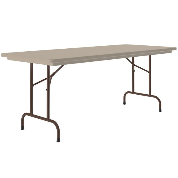 "Correll Heavy-Duty Folding Table, 30"" x 96"" Blow-Molded Plastic, Mocha Granite - R3096-24 Main Image 1"