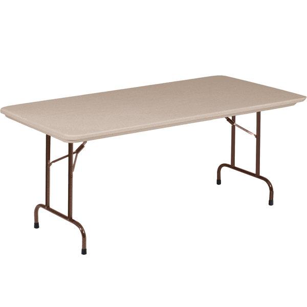 "Correll Heavy-Duty Folding Table, 30"" x 96"" Blow-Molded Plastic, Mocha Granite - R3096-24"