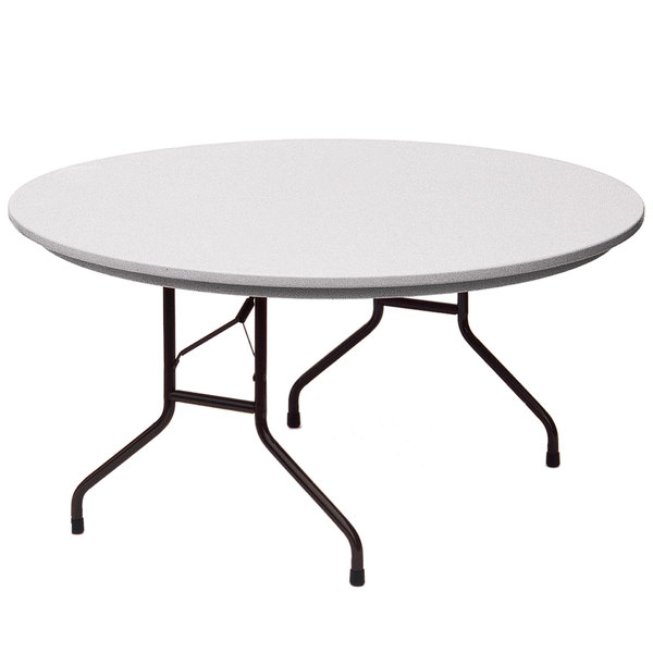 correll round heavy duty folding table 60 blow molded plastic gray granite r60 23. Black Bedroom Furniture Sets. Home Design Ideas