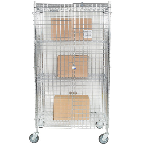 """Regency NSF Mobile Chrome Wire Security Cage Kit - 24"""" x 36"""" x 69"""""""