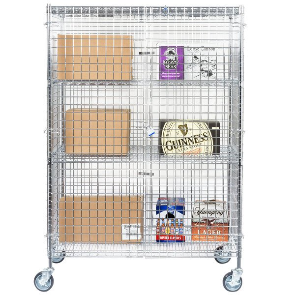 "Regency NSF Mobile Chrome Wire Security Cage Kit - 24"" x 48"" x 69"""
