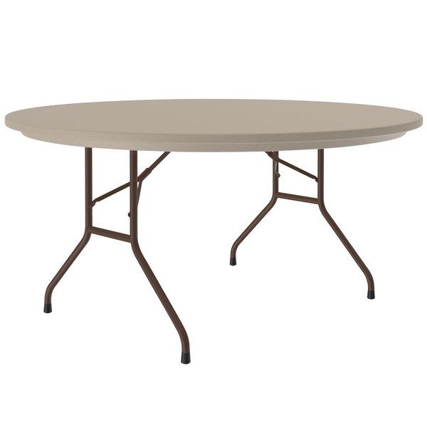 "Correll Round Heavy-Duty Folding Table, 60"" Blow-Molded Plastic, Mocha Granite - R60-24 Main Image 1"