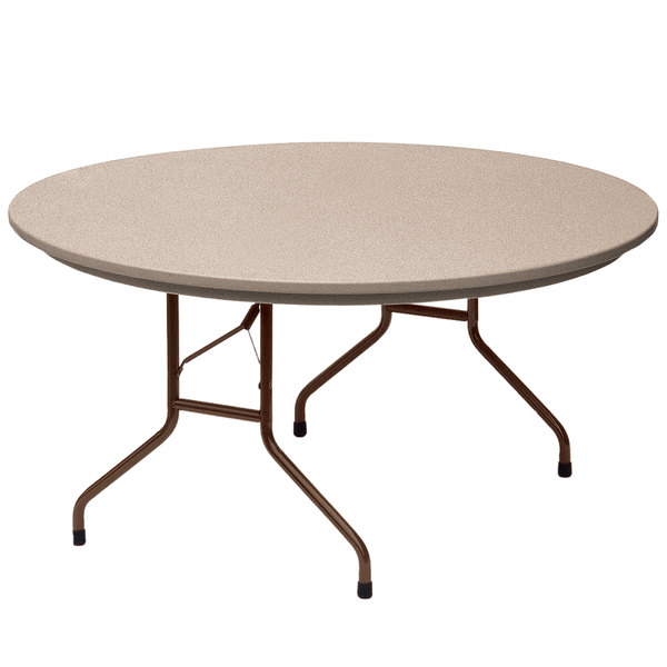"Correll Round Heavy-Duty Folding Table, 60"" Blow-Molded Plastic, Mocha Granite - R60-24"