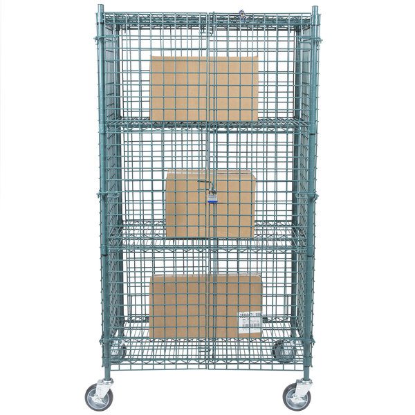 "Regency NSF Mobile Green Wire Security Cage Kit - 24"" x 36"" x 69"""