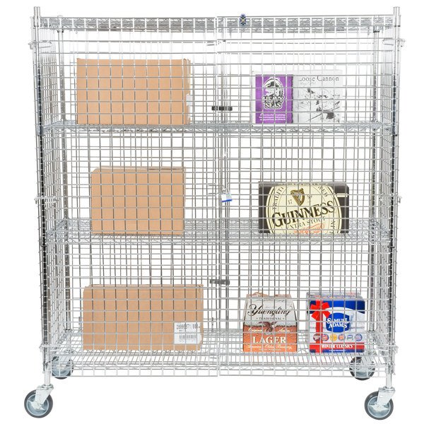 "Regency NSF Mobile Chrome Wire Security Cage Kit - 24"" x 60"" x 69"" Main Image 4"