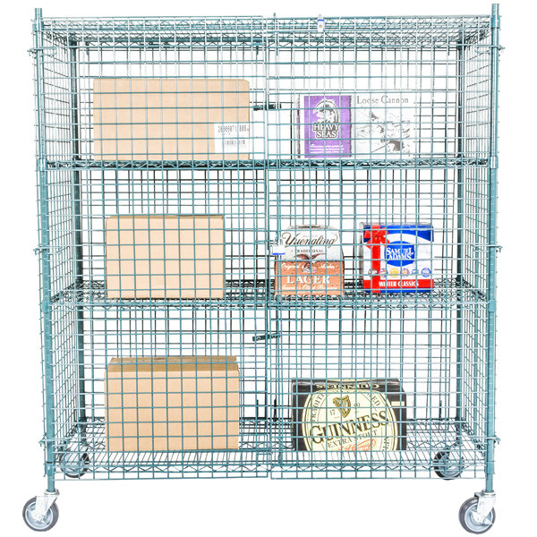 "Regency NSF Mobile Green Wire Security Cage Kit -24"" x 60"" x 69"""
