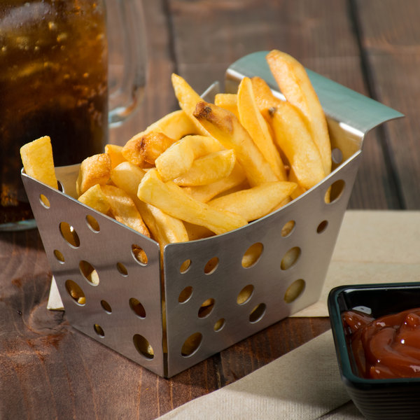 """Tablecraft SCB 5 1/2"""" x 3 1/4"""" x 3"""" Stamped Circle Stainless Steel Side French Fry Basket Main Image 8"""
