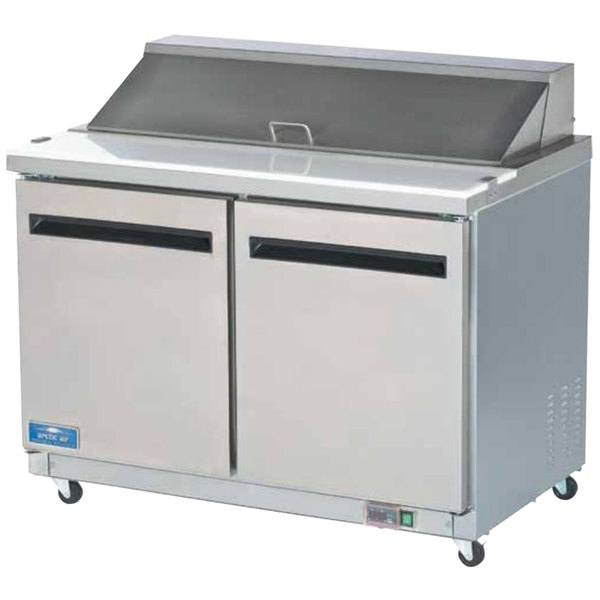 "Arctic Air AST48R 48"" 2 Door Refrigerated Sandwich Prep Table"