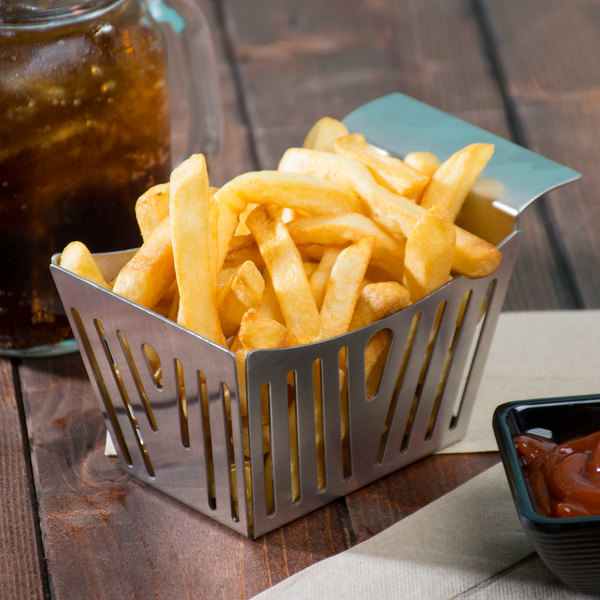 """Tablecraft SPB 5 1/2"""" x 3 1/4"""" x 3"""" Stamped Pinstriped Stainless Steel Side French Fry Basket Main Image 7"""
