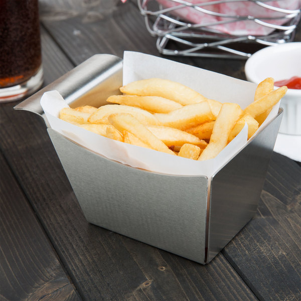 "Tablecraft SSB 5 1/2"" x 3 1/4"" x 3"" Stainless Steel Side French Fry Basket"