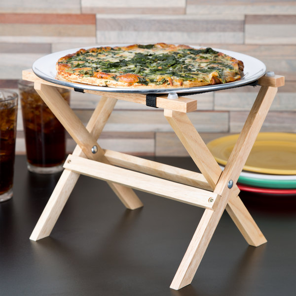 """Tablecraft RTT21N 9 1/4"""" Mini Table Tray Stand with Natural Finish"""
