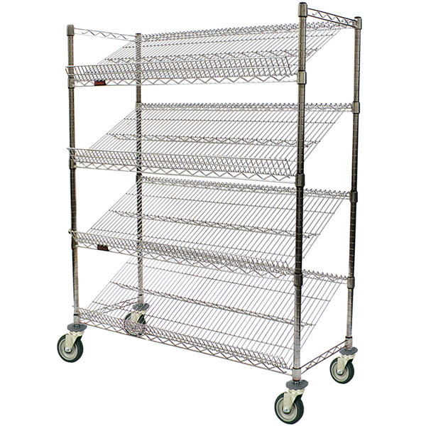 "Eagle Group M1848C-4 48"" x 18"" Chrome 4 Shelf Angled Merchandising Cart"