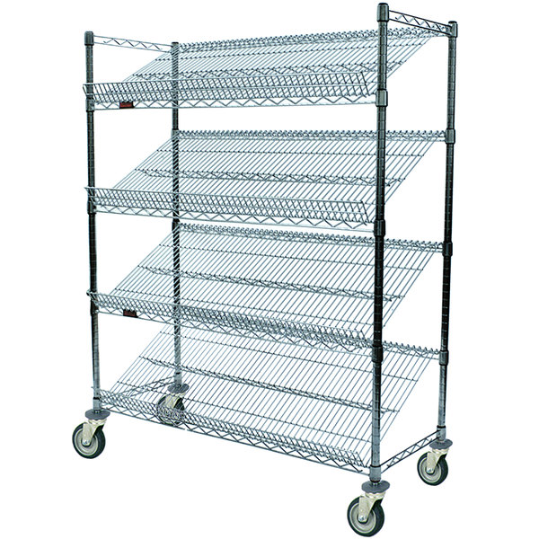 """Eagle Group M1860Z-4 60"""" x 18"""" EAGLEbrite Zinc 4 Shelf Angled Merchandising Cart"""