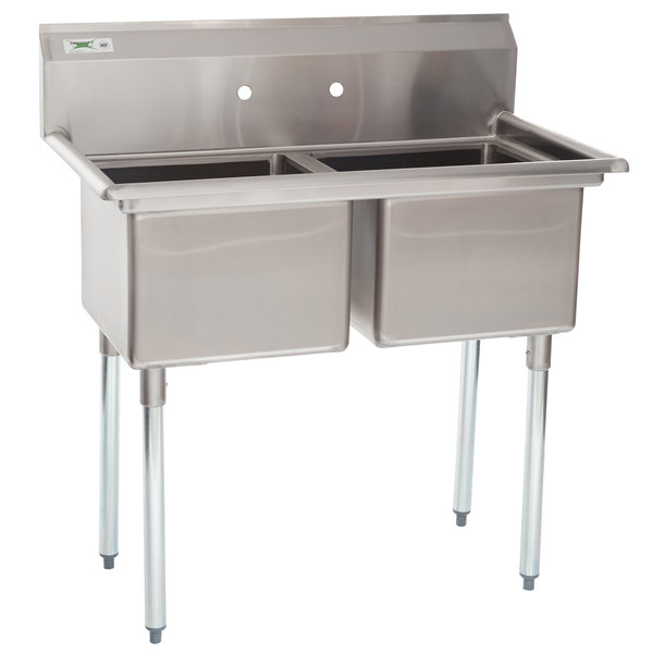 """Regency 41"""" 16-Gauge Stainless Steel Two Compartment Commercial Sink without Drainboards - 17"""" x 17"""" x 12"""" Bowls"""