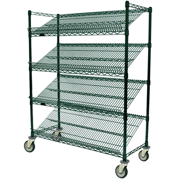 "Eagle Group M1836VG-4 36"" x 18"" Valu-Gard Green 4 Shelf Angled Merchandising Cart"