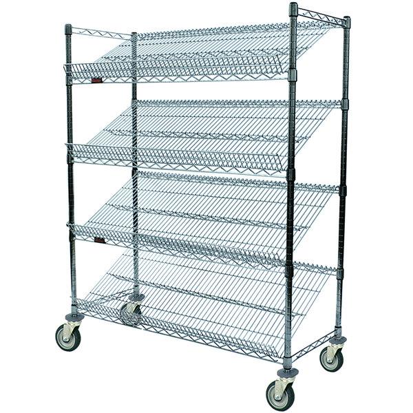 """Eagle Group M1848Z-4 48"""" x 18"""" EAGLEbrite Zinc 4 Shelf Angled Merchandising Cart"""
