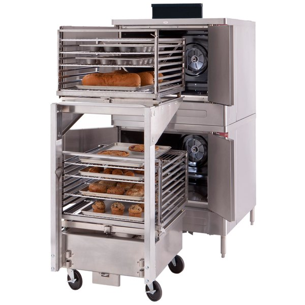 Blodgett DFG-100-ES Premium Series Liquid Propane Double Deck Full Size Roll-In Convection Oven with Draft Diverter - 90,000 BTU