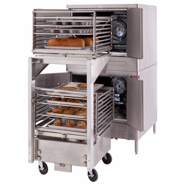 Blodgett Mark V-100 Premium Series Double Deck Roll-In Full Size Electric Convection Oven - 208V, 3 Phase, 22 kW