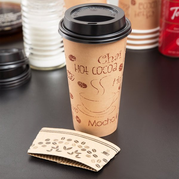 Choice 20 oz. Paper Hot Cup, Lid, and Sleeve Combo Kit - 25/Pack