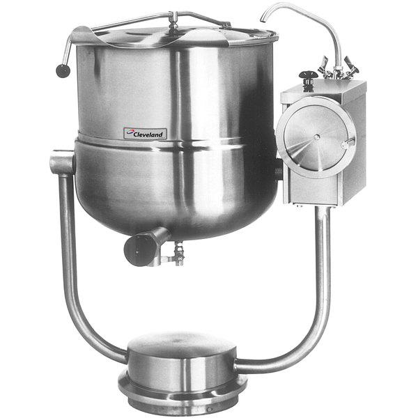 Cleveland KDP-25-T 25 Gallon Tilting 2/3 Steam Jacketed Pedestal-Mounted Direct Steam Kettle Main Image 1
