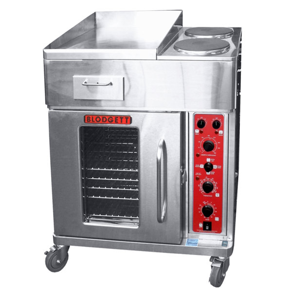 "Blodgett CTB-GFB Electric Range with 18"" Left Griddle, Two Burners, and Convection Oven Base with Left-Hinged Door - 240V, 1 Phase, 16.8 kW"