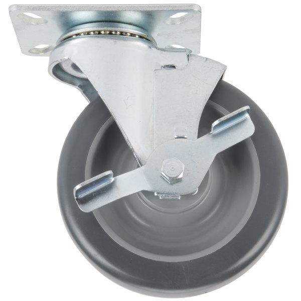 "Avantco HPCASTWB 5"" Swivel Plate Caster with Brake Main Image 1"