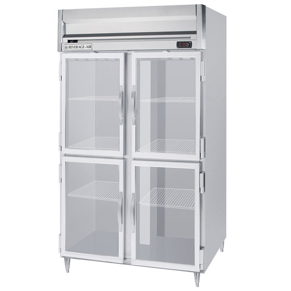 Beverage-Air HFPS2-1HG 2 Section Glass Half Door Reach-In Freezer - 49 cu. ft., Stainless Steel Exterior / Interior - Specification Series Main Image 1