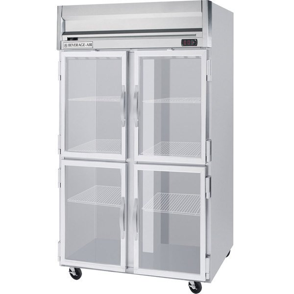 Beverage Air HFPS2-1HG-LED 2 Section Glass Half Door Reach-In Freezer - 49 cu. ft., Stainless Steel Exterior / Interior - Specification Series