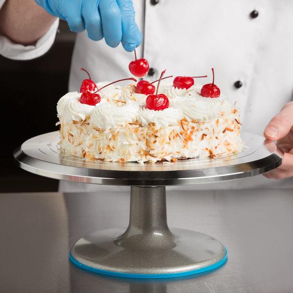 "Ateco 615 12"" Revolving Aluminum Cake Stand with Non-Slip Base (August Thomsen)"
