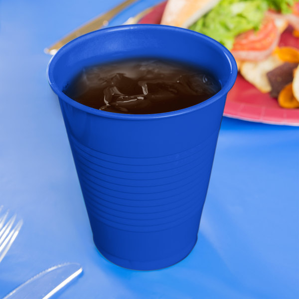 Creative Converting 28314781 16 oz. Cobalt Blue Plastic Cup - 20/Pack Main Image 2