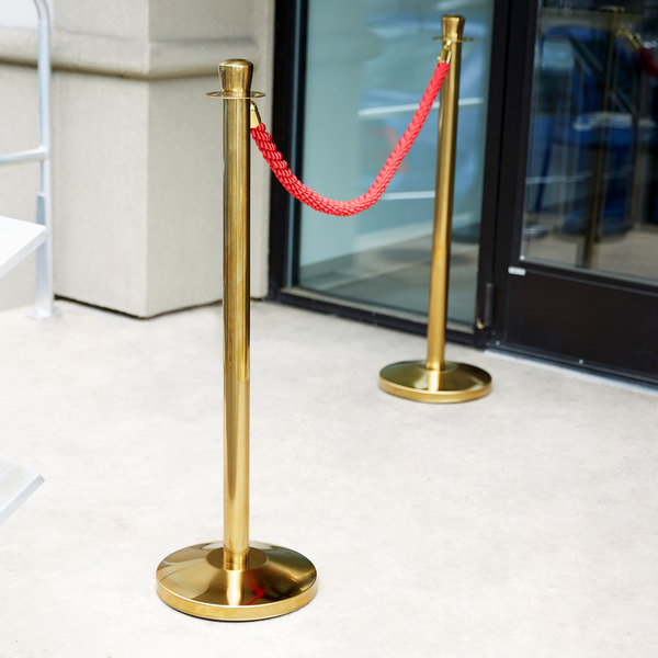 """Lancaster Table & Seating 40"""" Gold Rope-Style Crowd Control / Guidance Stanchion Set with 5' Red Rope"""