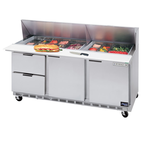"""Beverage-Air SPED72HC-10-2 72"""" 2 Door 2 Drawer Refrigerated Sandwich Prep Table Main Image 1"""