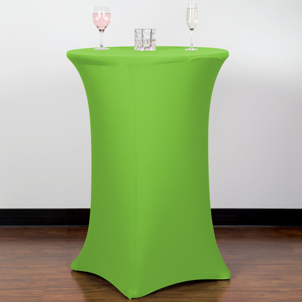 "Snap Drape CC30R42-LIME GREEN Contour Cover 30"" Round Lime Green Bar Height Spandex Table Cover"