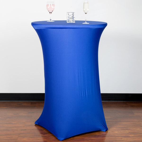 "Snap Drape CC30R42-ROYAL BLUE Contour Cover 30"" Round Royal Blue Bar Height Spandex Table Cover"