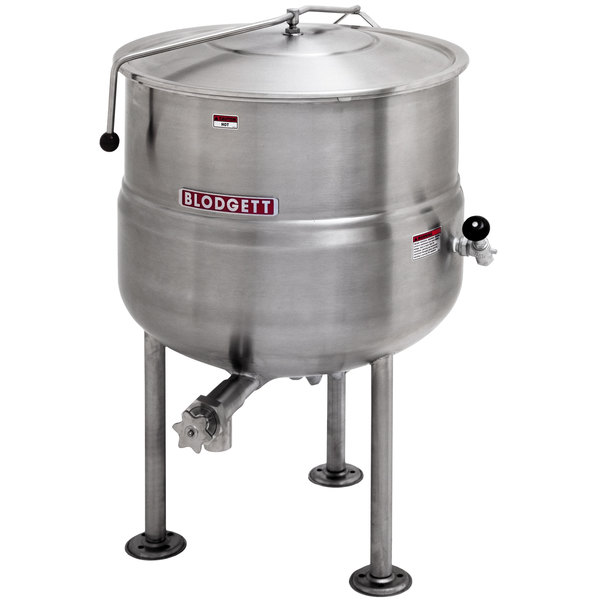 Blodgett KLS-100DS 100 Gallon Stationary Tri-Leg Steam Jacketed Direct Steam Kettle Main Image 1