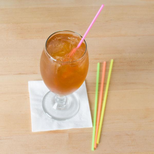 """Choice 7 1/2"""" Neon Beverage Stirrer / Sip Straw"""