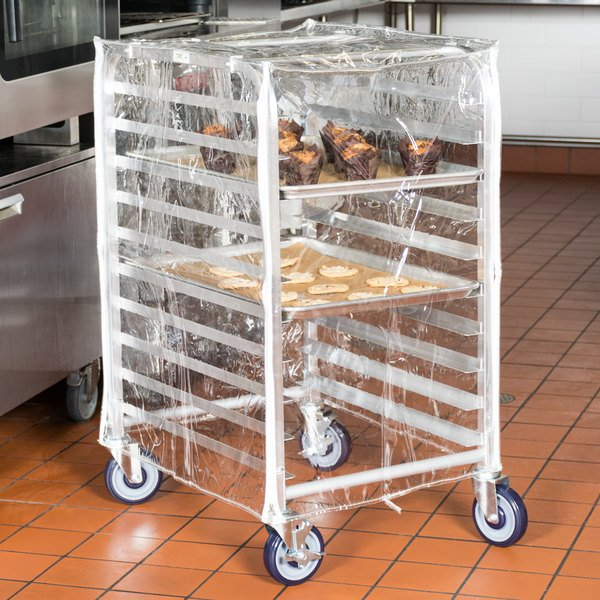 """Regency 33 3/4"""" Clear 8 Mil Half-Size Plastic Bun Pan Rack Cover with 3 Zippers"""