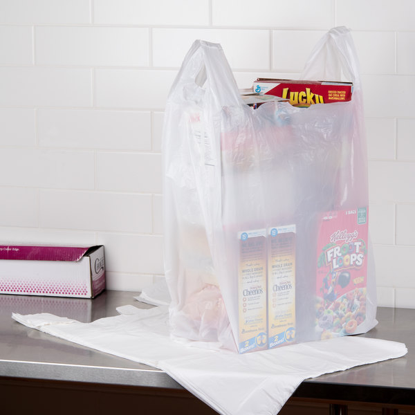 "20"" x 10"" x 36"" .71 Mil White Unprinted Plastic T-Shirt Bag - 250/Case"