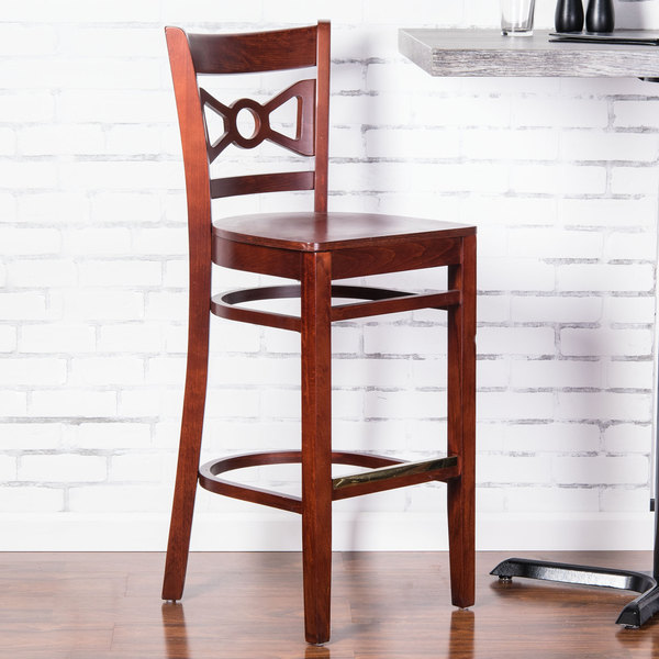 Preassembled Lancaster Table & Seating Mahogany Finish Wooden Bow Tie Back Bar Height Chair