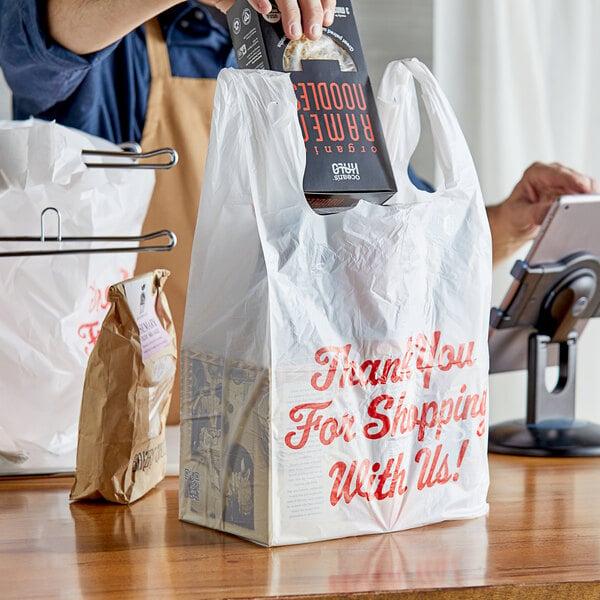 "Choice 1/6 Size .71 Mil White ""Thank You"" Heavy-Duty Plastic T-Shirt Bag - 600/Case Main Image 2"