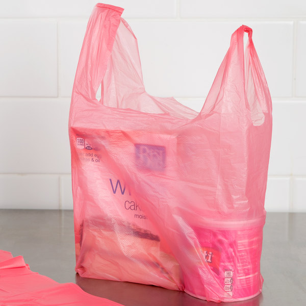 1/10 Size .55 Mil Pink Unprinted Embossed T-Shirt Bag - 1500/Case