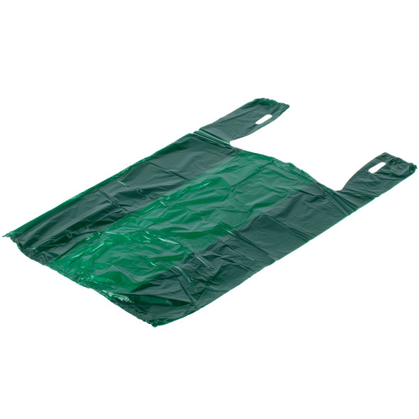 1 6 Size 51 Mil Green Unprinted Embossed T Shirt Bag