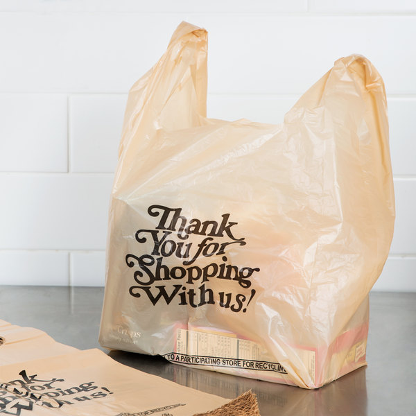 1/6 Size .71 Mil Beige Thank You Heavy-Duty Plastic T-Shirt Bag - 600/Case