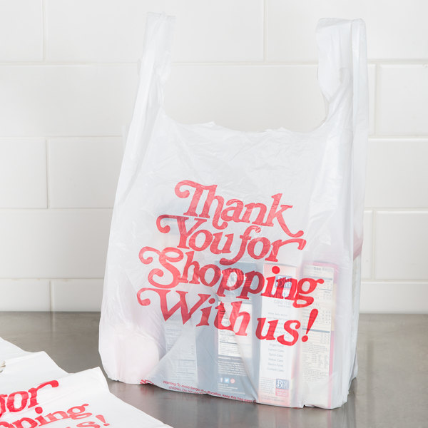 1 5 Size 67 Mil White Thank You Heavy Duty Plastic T Shirt Bag 500 Case
