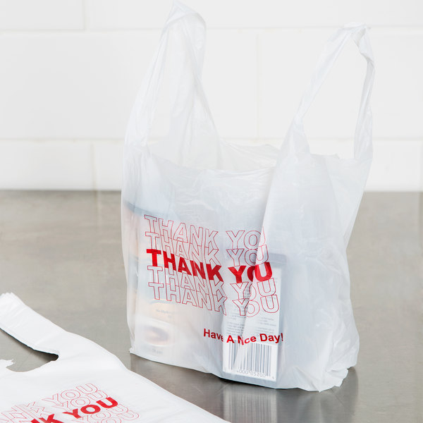 1/12 Size .51 Mil White Thank You Plastic T-Shirt Bag - 1000/Case