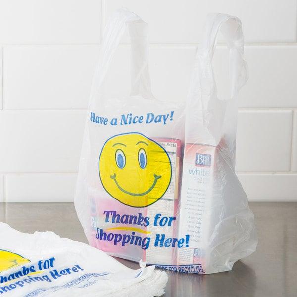 1/8 Size .51 Mil White Happy Face Plastic T-Shirt Bag - 1000/Case Main Image 2