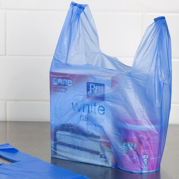 1/10 Size .55 Mil Blue Unprinted Embossed T-Shirt Bag - 1500/Case